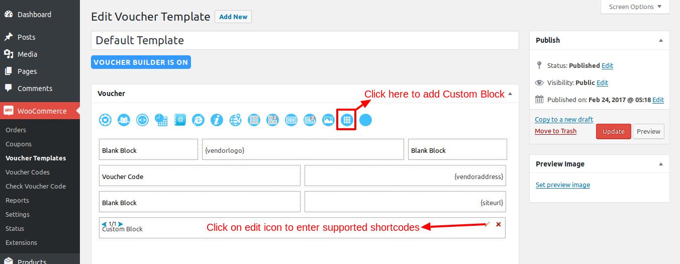 Custom block supprted shortcodes