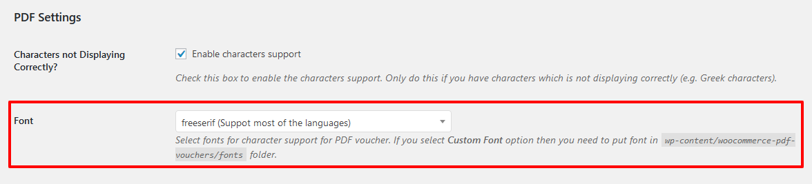 PDF font support