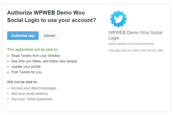 Twitter authorize app