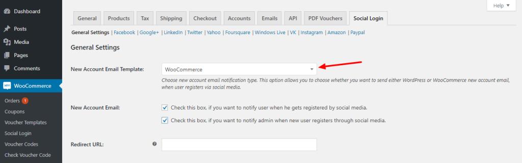 Woo social login email template
