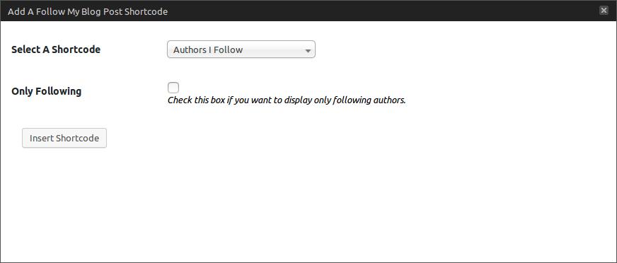 Author follow shortcode