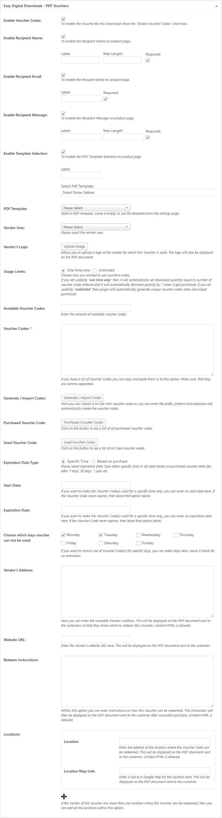 Metabox settings