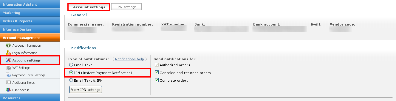 Account setting page