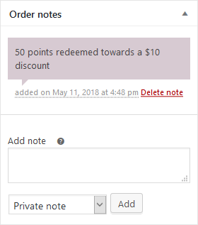 Points redeemed note