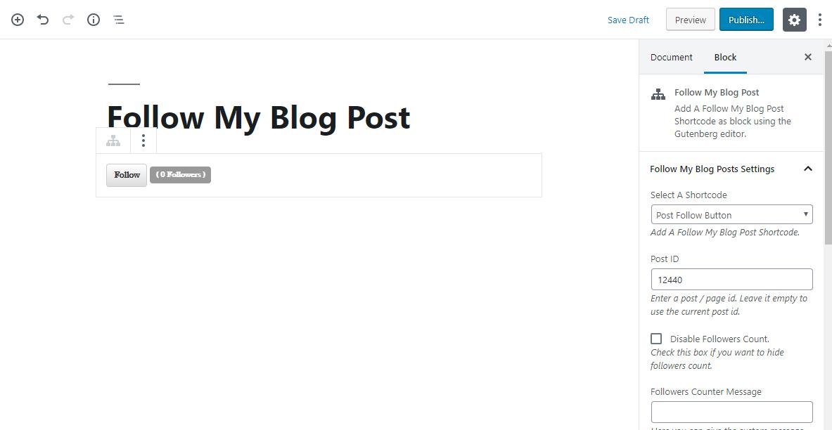 Post follow button