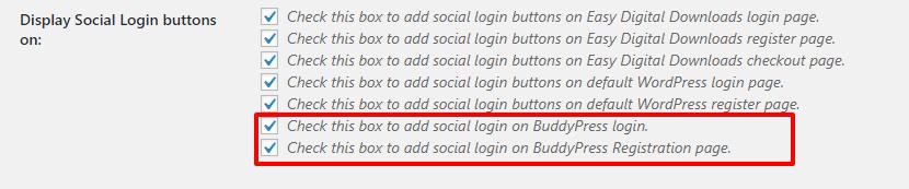 Buddypress settings