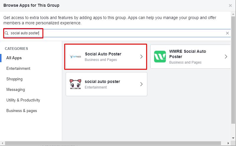 Facebook app method group