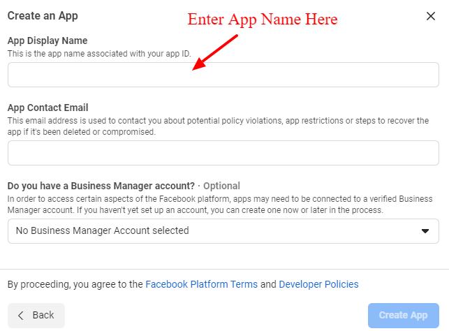Create A New Facebook Application