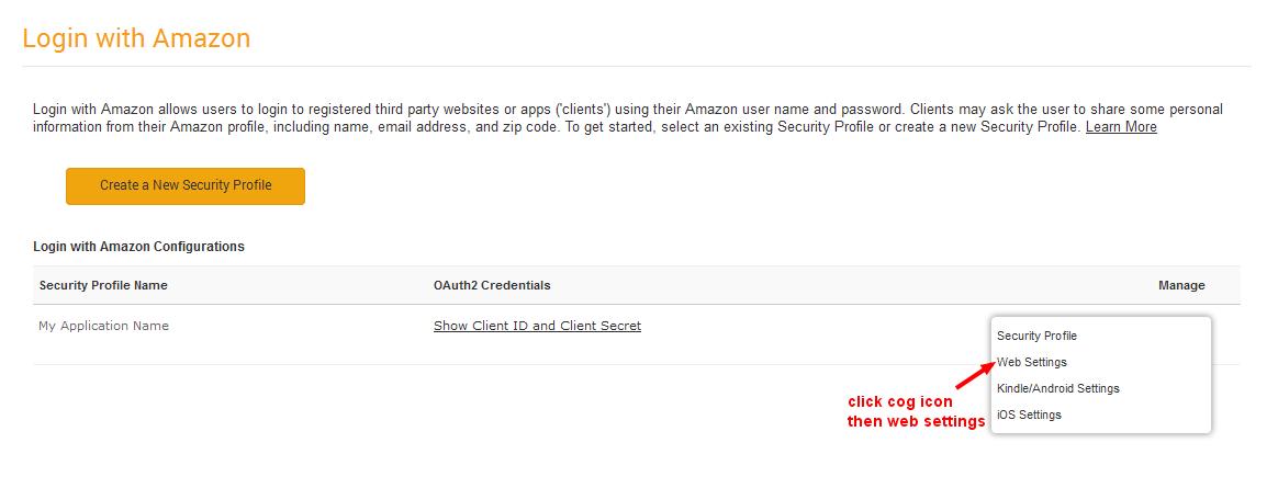 Amazon app settings edit page