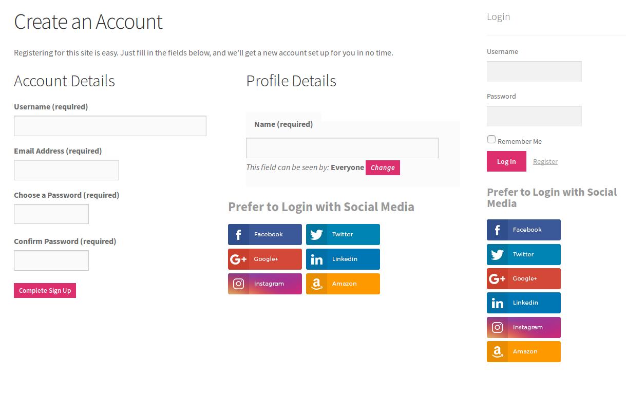 Buddypress login register