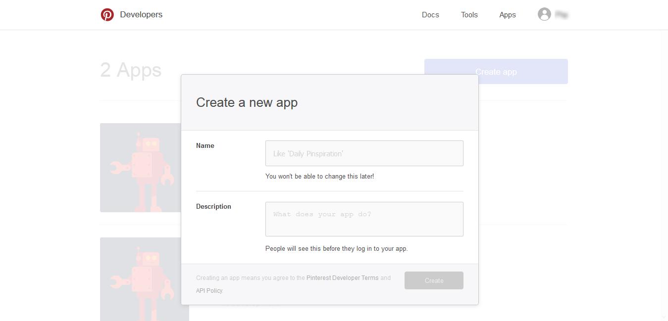Pin create app