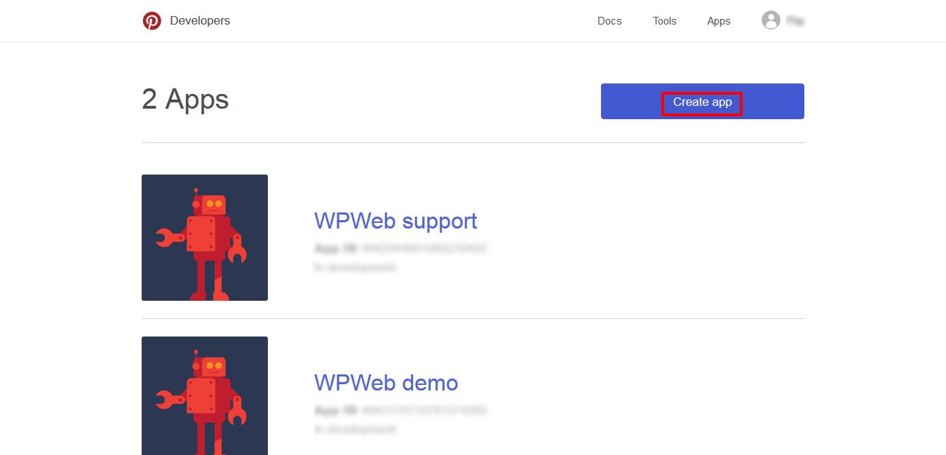 Pin developer page
