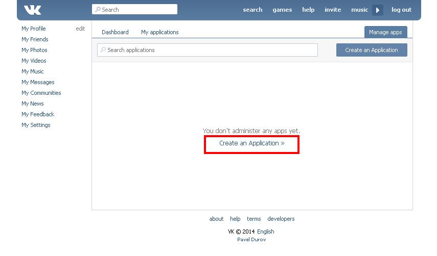 VK developer page