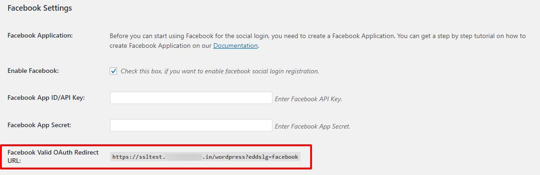 Facebook redirect