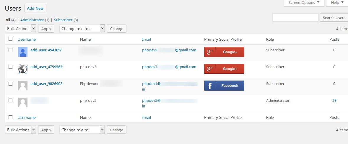 User primary profile